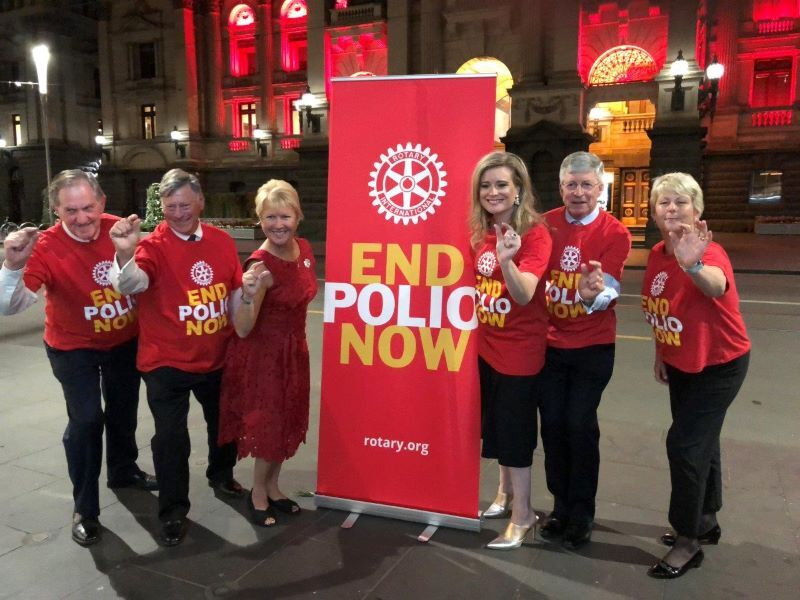 Jennifer Jones (third left) was RI Vice President when photographed here in 2018 promoting Rotary Melbourne's promotion of
